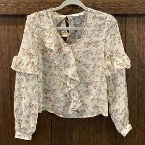 NWT Nordstrom floral ruffle long sleeve top